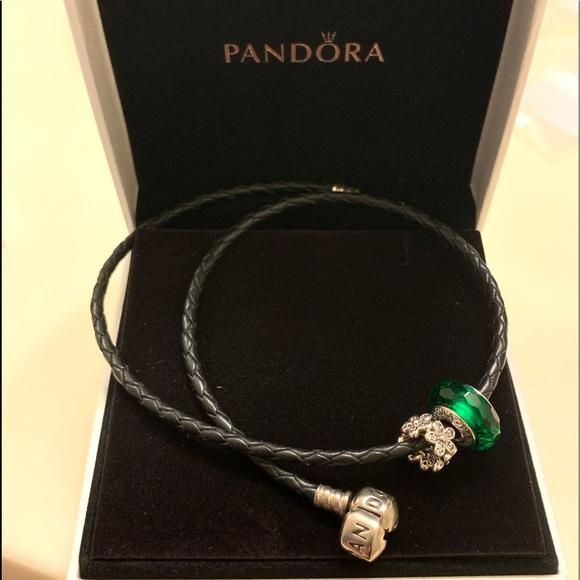 Pandora Jewelry Pandora Moments Double Black Leather Bracelet Poshmark